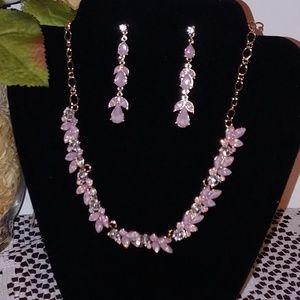 New Pink Shimmer Crystal Necklace Earrings Set